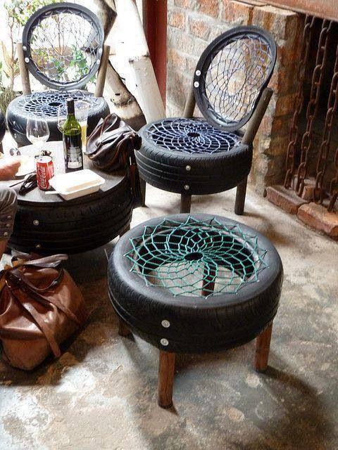 DIY Furniture Using Tires, Wood And Plastic